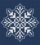 Snowflake monochrome cross stitch pattern for dark blue fabric 14 ct.