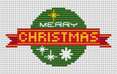 Free cross stitch pattern for making Christmas cards  with the text: Merry Christmas.Contains Christmas symbols such as snowflakes, green ball ornament, red ribbon.