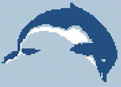 Simple cross stitch of a leaping dolphin stitched with just two colors of floss.