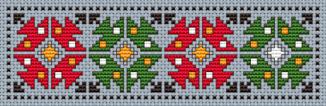 Bookmark free cross stitch pattern based on  traditional Bulgarian embroidery.Design for Sky Blue Aida 14 ct.