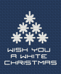 Monochrome cross stitch pattern for Dark Blue Aida with wishes for a white Christmas.Suitable for making cards.