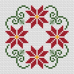 Beautiful styled Christmas wreath cross stitch patter with three colors: green, red and yellow. Easy to stitch also  suitable for beginners