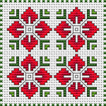 Floral biscornu cross stitch pattern in red and green shades on white fabric 14 ct.