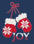 A cross stitch pattern of red mittens with white motifs.Suitable for Christmas projects for kids.For a card use 16 or 18 ct  fabric,dark blue or green.