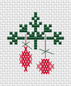 Very small abstract design for cards depicting a Christmas tree sprig  with red decorations.