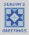 Christmas card cross stitch pattern with two shades of blue.Contains stylized star and snowflakes in the hope of white Christmas.
