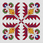 A colorful pattern based on traditional Bulgarian cross stitch.Suitable for biscornu making and contains full stitches and back stitches.