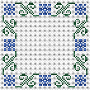 An easy cross stitch pattern with two colors - blue and green. Also suitable for making biscornu, small photo frames, borders and other projects.