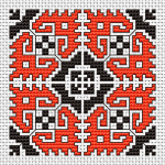 Bicolor motif in black and orange based on traditional Bulgarian embroidery. Very appropriate for making  small gifts, such as biscornus, that will delight your relatives and friends for birthdays and other occasions. If you do not like the current colors -  just change them.