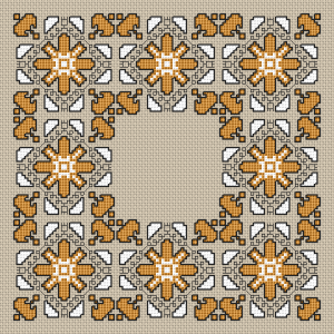 Small cross stitch panel with a motif from the traditional Bulgarian embroidery with a  predominant color of old gold.