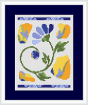 A composition of abstract flowers with pastel colors in yellow, blue and green.This cross stitch pattern contains only full stitches.