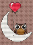 "Valentine's Day cross stitch pattern with a cute little owl..For my Valentine  or just to say: ""I like hanging out with you"""