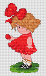 A child-themed cross stitch pattern in retro style. A little girl with a red Easter egg in her hand and a shaky red ribbon in her hair.