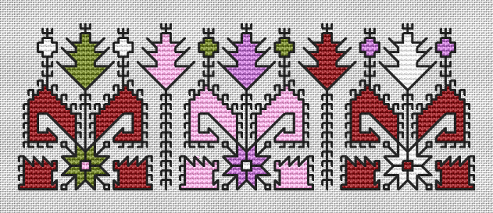 An abstract motif based on the traditional Bulgarian embroidery containing cross stitches,3/4 stitches and back stitches.