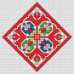 An element of the traditional Bulgarian embroidery with a rhombic shape.