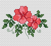 Small cross stitch pattern with delicate pink flowers.Surprise someone with this hand-made card and best wishes.