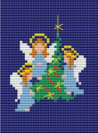 Cross stitch of three tiny angels standing next to a Christmas tree.