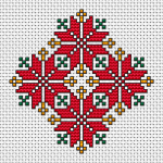 A cross stitch pattern that can be used for small panes, cards, embroidered ornaments and other designs.