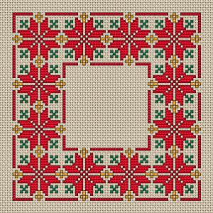 This cross stitch pattern with a repeating motif can also be used for a larger border, increasing the size by width and length to the size you need.