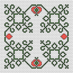 Biscornu cross stitch design with decorative elements in two colors.It can also be used for other projects, and you can even ignore the backstitch.