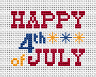 America's Birthday - Independence Day.This free Fourth of July cross stitch pattern includes three colors: red,blue and yellow,text and a few fireworks(back stitches).