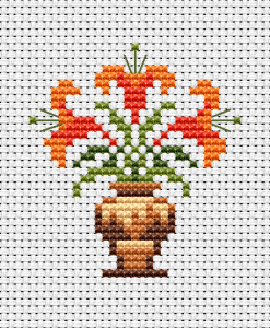 Small cross stitch pattern of Lily flowers very suitable for different greeting cards and other hand-made gifts.
