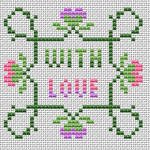 "An idea for a small greeting card with a colorful motif and text: ""With love""."