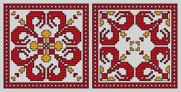 Cross stitch pattern of two ornaments in red in the style of Bulgarian traditional embroidery.