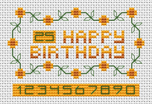 Birthday greeting card with a backstitch font added for numbers from 0 to 10, so you can modify the numbers yourself as you need.
