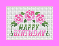 Send a beautiful cross stitch card with birthday wishes to brighten somebody's big day.