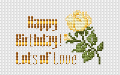 Birthday cross stitch card with beautiful yellow rose and greeting text.