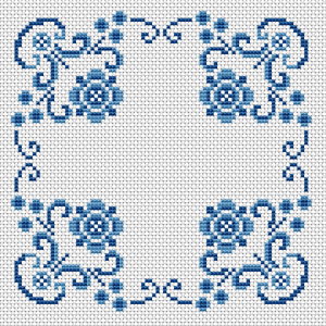 "Download and print the ""Blue Cushion"" cross stitch pattern"
