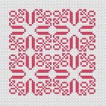 An interesting small cross stitch design  in pink for a miniature panel, cushion and other projects.
