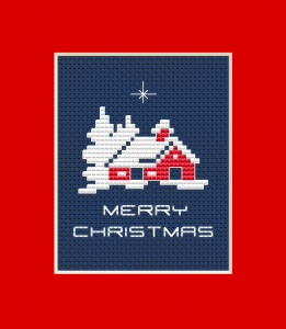 Make a cute Christmas card with this cross stitch  pattern depicting a snowy landscape.