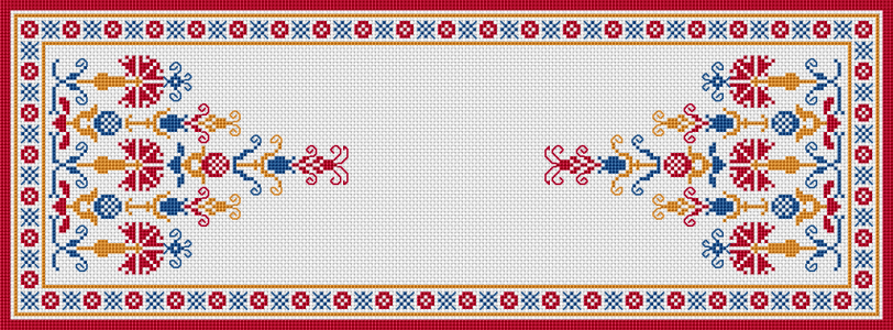 "Download and print the ""Table Runner "" cross stitch pattern"