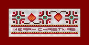 A cross stitch pattern for making  Christmas cards,bookmarks ,border and more  with a motif of traditional Bulgarian embroidery.
