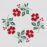 Cross stitch pattern for circular shaped napkins with beautiful repeating motif of red flowers.Can also be used for a card by adding your text in the middle of design by selecting an appropriate font size.