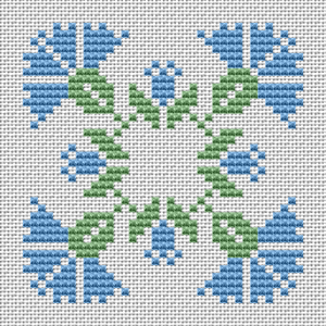 "Download and print the ""Blue Floral Ornament"" cross stitch pattern"