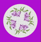 An elegant composition of gentle bellflowers on 14 count Aida cloth.