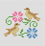 Two little birds in a very cheerful mood.A cross stitch design for cards with spring themes.The pattern is ideal for beginners.