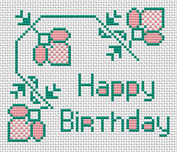 An interesting birthday card cross stitch pattern filled with two color threads and flower motifs.