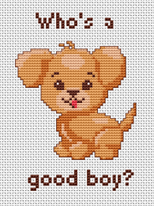 This free cross stitch pattern is a gift for all animal lovers - young and old. A little sweet puppy who really is a good boy.
