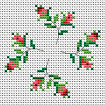 A small and beautiful composition with four rosebuds that will enrich your collection of embroidered flowers.