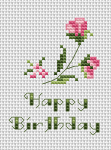 "A small floral greeting card with the text:""Happy Birthday!""."