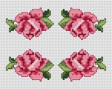 In fact, the purple rose is one, but it is shown in four positions to make it easier for you to stitch the pattern , depending on where you want to place it: in the top or bottom corner, and so on.