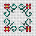 Another floral cross stitch pattern for biscornu making.If you wish you can do the  back stitch , but it is not obligatory.