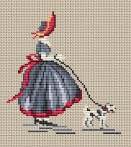 Cross stitch pattern of a girl walking with her dog.We recommend using Aida 14 ct cream,sky blue or pink for this design.