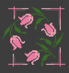 A small beautiful composition with pink tulips.This cross stitch pattern is designed for black Aida 14 ct.