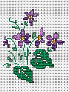 Who does not like the violets? Always smelling and gentle. Even embroidered on 14 ct  white Aida they remain beautiful.