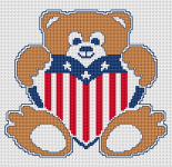 Little teddy bear with USA flag.Dedicated to the national holiday of the United States July 4 - Independence Day.